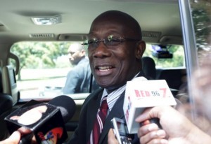 Keith Rowley, a 65-year old geologist and leader of the opposition People's National Movement (PNM), talks to the media in Port-of-Spain
